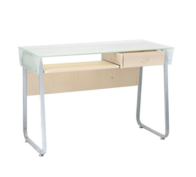Mesa de cristal escritorio cheap escritorio de vidrio for Mesa auxiliar esquinera